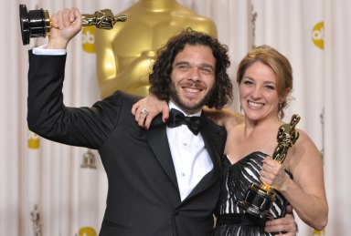 Sean Fine and Andrea Nix Fine, winners of best short documentary at the 86th Academy Awards